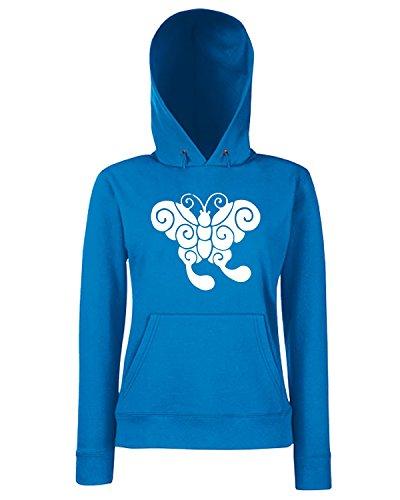 T-Shirtshock - Sweats a capuche Femme FUN0902 butterfly sticker 10 89730 Bleu Royal