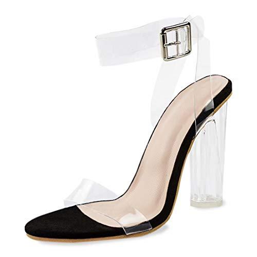 Damen Sandalen Sommer-Sandalen für Frauen Plateau High Heels Block Comfy Party Schuhe, Schwarz - transparent, schwarz - Größe: 37 EU (Caged Keil Sandalen)