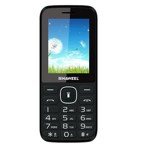 Haweel X1téléphone portable, LED Flash Light 6,1cm double carte SIM double veille Senior téléphone portable GSM 2G Super Grand Haut-parleur Unique Camera Support FM TF lampe de poche pour enfants aux personnes âgées