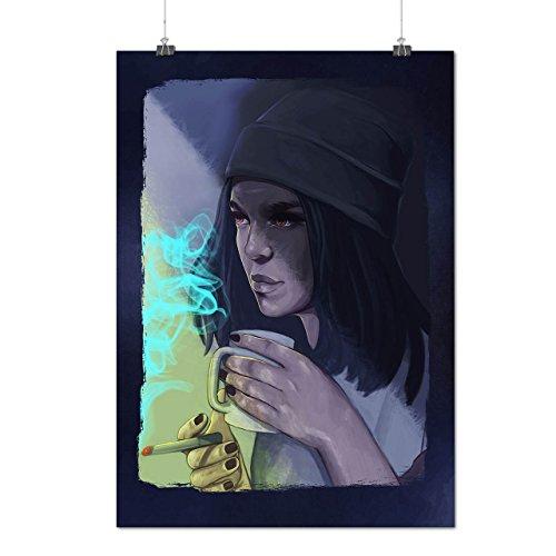 Der Gesicht Kostüm Reißverschluss Bilder (Zigarette Kaffee Porträt Mattes/Glänzende Plakat A3 (42cm x 30cm) |)