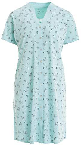 Zeitlos - Nachthemd Kurzarm Stehkragen Blumen Knopfleiste, Farbe:Mint, Größe:XL