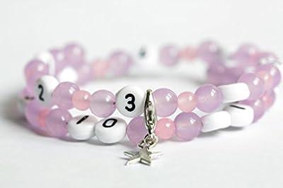 Bracelet d'allaitement avec perles en agate de couleur violet claire et rose claire