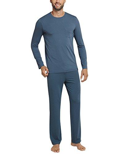 Schiesser Herren Zweiteiliger Schlafanzug Long Life Cotton Anzug Lang, Blau (Petrol 811), X-Small (Herstellergröße:046)
