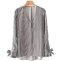 Cnsdy Camisas de Las Mujeres con Cuello en V Straight Slim Manga Larga Camisas Vintage puños Correas Delanteras Camisas Cortas
