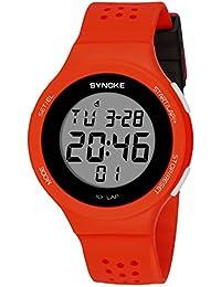 SYNOKE - Reloj Digital de Deportes Ultra-Delgado Hombre Mujer Reloj Luminoso LED Alarma Date