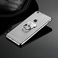 Funda iPhone 7 Plus, Carcasa Transparente para iPhone 7 Plus, JAWSEU Apple iPhone 7 Plus (5.5 Pulgadas) Carcasa Caso Cover Ultra Delgado Suave Silicona Carcasa Estuche para iPhone 7 Plus Protectivo Parachoques Tapa Trasera Shell Marco de Enchapado con Anillo de Oso Crystal Claro Cubierta Funda para Apple iPhone 7 Plus - Plata, Anillo de oso
