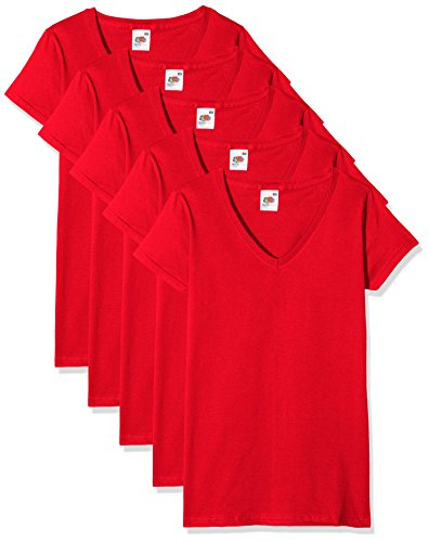 Fruit of the Loom Damen T-Shirt Valueweight V Neck Lady-Fit 5 Pack, 3, Rot, 46 (5 V-neck T-shirt Womens)