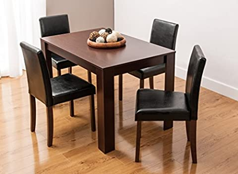 Dining Table and 4/6 Chairs with Faux Leather Walnut Furniture Room Set by SMARTDESIGNFURNISHINGS® (Table & 4 Chairs)