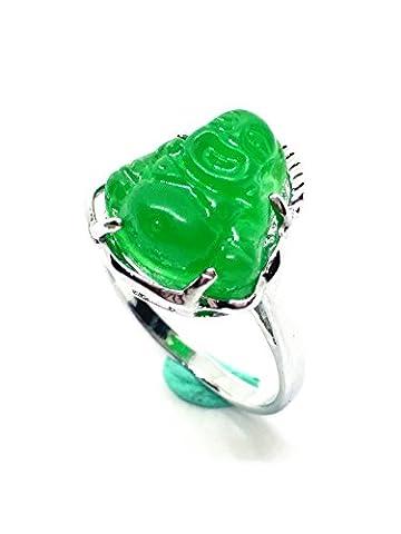 Pour femme en titane sculpté Vert jade Bouddha Bague