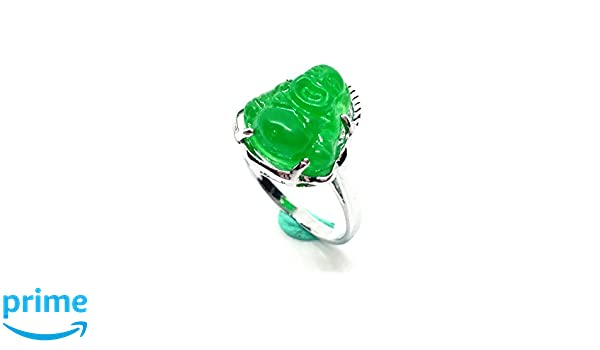 yigedan Womens Titanium Steel Carved Green Jade Buddha Ring