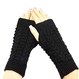 Kolylong Girl style Fashion Knitted Arm Fingerless Winter Gloves Soft Warm Mitten