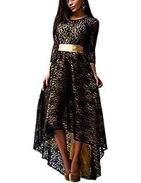 Donna Vestiti Da Sera Cerimonia Eleganti Autunno Invernali Vestitini Manica  A 3 4 Girocollo Abito 0fea131b689