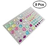 #2: ULTNICE 8 Sheets Self-Adhesive Rhinestone Sticker Assorted Bling Craft Jewels Crystal Gem Stickers Embellishments