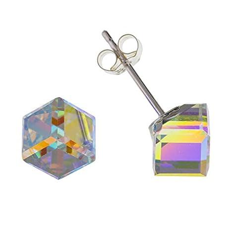 6mm Sparkling klar österreichischen Crystal Cube Ohrstecker Ohrringe/Ohrstecker–925Sterling Silber–Swarovski-Stil