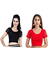 Fressia Saree Blouse Readymade Stretchable Cotton Lycra Free Size stitched Saree Blouses For Women Party Wear(Pack of 2)
