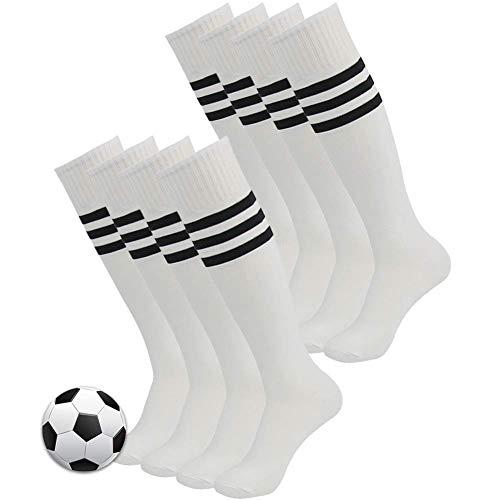 3street Unisex Triple Stripe Kniehohe über Kalb Athletic Fußball Tube Socks 2-12Paar, Damen Herren Mädchen Jungen, 03#8 Pairs White+Black Stripe, Einheitsgröße (3 Pair Mädchen Kostüm)