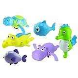 Toyvian 6PCS Windwork Clockwork Sea Animal Toy Piscina per Bambini e Giochi d'Acqua per Bambini per i più Piccoli