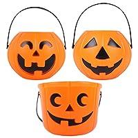 3 قطع من Toyvian Halloween Pumpkin Candy Bucket للأطفال Trick or Treat Bucket Gooddie Bags bowl Sweet Pail Barrel (برتقالي)