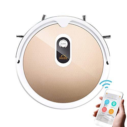 Smart Saugroboter mit Wischfunktion A3 automatischer saugerroboter staubsaugroboter (120min Laufzeit, Smartphone-App, Direktabsaugung, 0.8L Staubbehälter, 0,35L Wasserbehälter, mit Smart 2.0 Gyroskop-Reinigungswegtechnologie) (Gold)