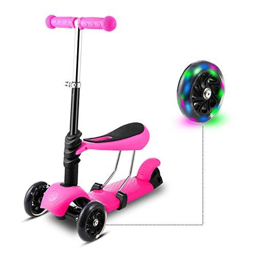 WeSkate 3-in-1 3 Räder Kinder Scooter Roller Tretroller mit SitzMini Kinderscooter Kinderroller Kickboard mit Leuchtrollen und Verstellbare Lenker für Kleinkinder Jüngere Mädchen ab 2 Jahre Rosa