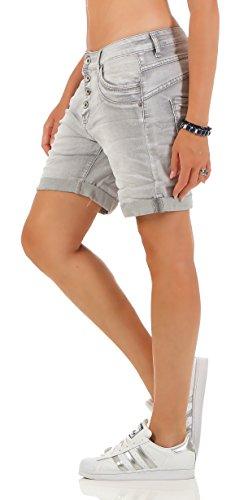SKUTARI Kurze Damen Hosen Jeans Shorts Baggy Boyfriend Grau4