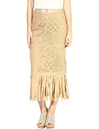 Taurus Women's Lace Beige Fringe Skirt