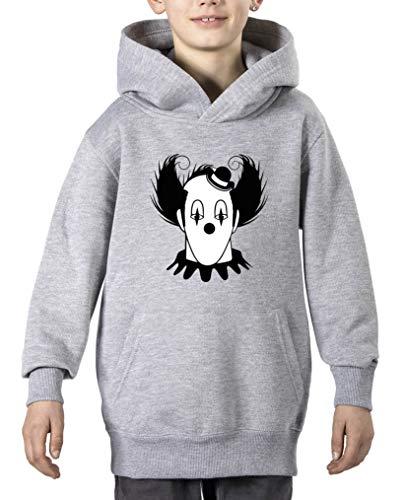 Comedy Shirts - Halloween Clown - Jungen Hoodie - Grau/Schwarz-Weiss Gr. 140
