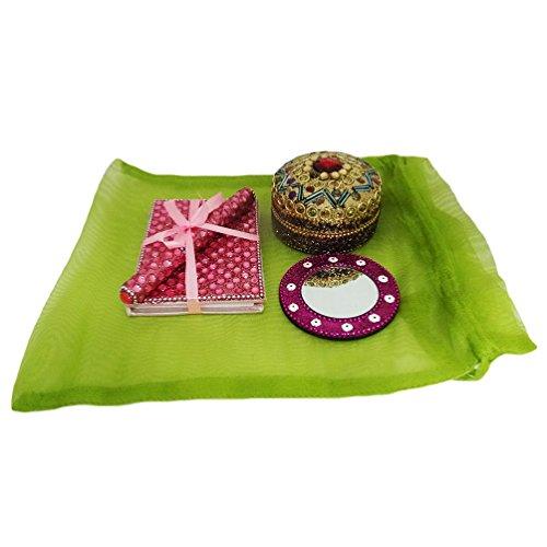 indian gingillo diario materiale in rilievo handmade decorativo del regalo di arredamento contenitore di monili stile vintage donne sacchetti cosmetici palmare specchio antico regalo di natale
