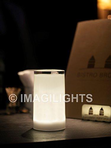Imagilights Plisée LED Tischlampe, 24 Farben mit Farbwechsel, Kerzenmodi, Höhe ca. 15 cm, Durchmesser ca. 8,3 cm, Rund, Kabellos, mit Akku, Inklusive Ladegerät, Wasserdicht, Stoßfest
