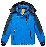 Wantdo Jungen Kapuzen-Ski-Fleecejacke Wasserdichte Regenmäntel Outwear Blau 10/12(Höhe 140-146cm)