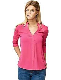Decay Damen Bluse Arbeitsbluse elegant - Schwarz Weiß Pink - Hemd - MD1318 a18c5a08ab