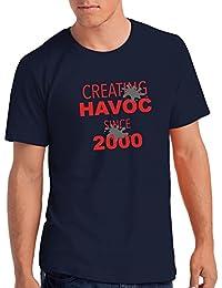 "Mens Creating Havoc Since 2000"" 18th Birthday T Shirt Gift"