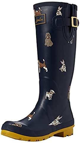 Joules Women Wellyprint Wellington Boots, Blue (French Navy Fido Dog), 5 UK 38 EU