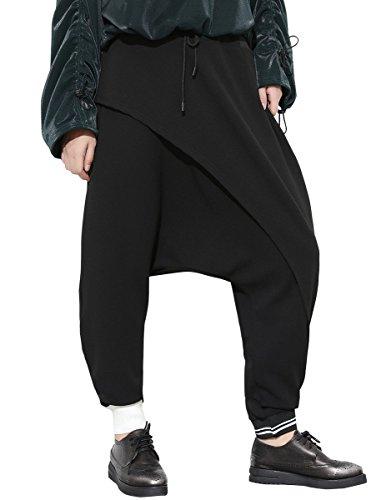 ELLAZHU Damen Fashion Drop Gabelung Taille Elastische Patchwork Baggy Lange Hose GY1422