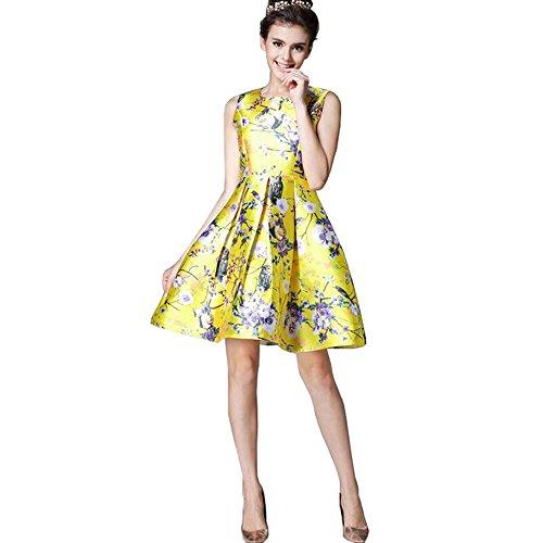 buenos-ninos-robe-plissee-a-fleurs-90-den-femme-jaune-large