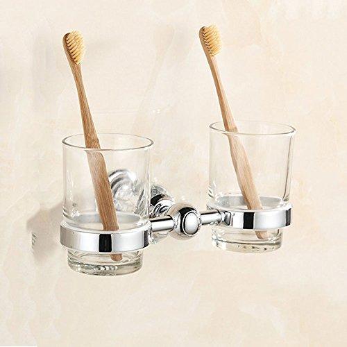 Porte-brosse à dents en verre ensemble européen brosse à dents en acier inoxydable porte-gobelet porte-verre en laiton porte-gobelets porte-gobelets double tasse, 11,5 * 20 cm