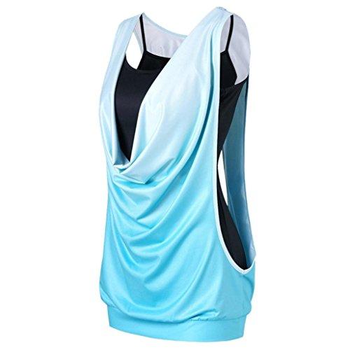 SEWORLD Damen Sommer Mode Lässig Ärmellose Farbverlauf Zwei Stück Tank Tops Camis Weste Bluse(Y-a-Grün,EU-34/CM-S)