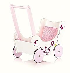 LEOMARK Wooden Walker Doll Carriage incl. Bedding Butterfly Doll Carriage First Walker Car First Walker Pink