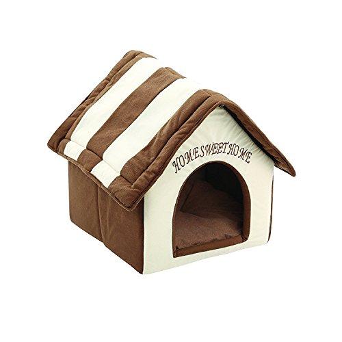 ZIME Pequeña casa de mascotas - Pequeña casa portátil y convertible para perros o gatos, casa para dormir / cama, nido suave para mascotas con tapete extraíble