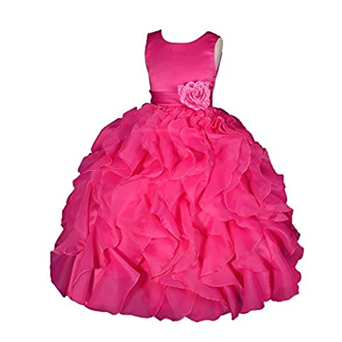 Lito Angels Girls' Satin Organza Ruffle Flower Girl Bridesmaid Dresses Party Gown Occasion Dress Size 7-8 Years Hot