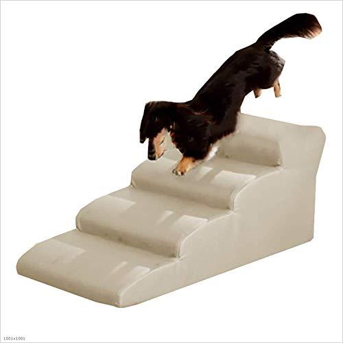 CMDDYY 4 Stufen PET Stair, PU Ledersofa Fächer Förmiges Rampen Bett, Sofa, Kleine Und Große Hunde,Beige