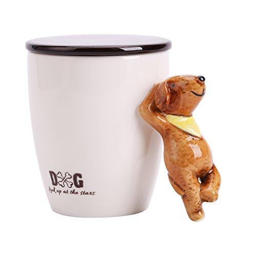 UPSTYLE 3D Cute Cartoon Animal Keramik Kaffee Milch Tasse Tee Tasse mit Deckel und Griff Größe...