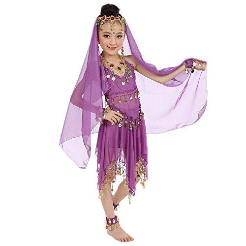 Jazz Dance Katalog Kostüm - Lonshell Kinder Mädchen Bauchtanz Chiffon Kleid Tanzkostüme Outfit mit Münzen Ärmellos Tanzkleid Partykleid Ägypten Tanz Belly Dance Performance Kleid