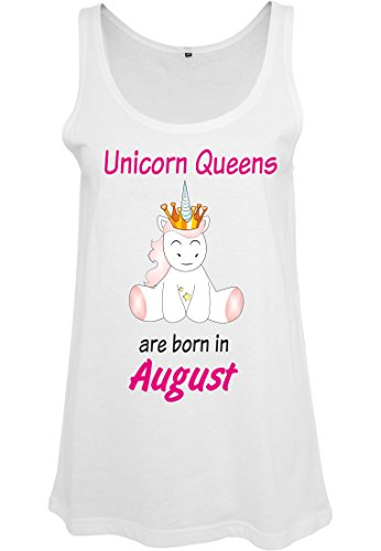 Ladies Damen Top Tanktop Sommertop Damentop Einhorn Unicorn Queens are born Weiß August