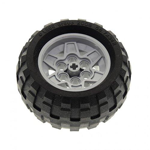 1 x Lego Technic Rad schwarz 68.7 x 34 R Reifen Felge mit 6 Pin Löchern neu-hell grau 43.2 x 26 Technik Set 9444 8081 9445 9393 (56908 / 61480) 56908c02