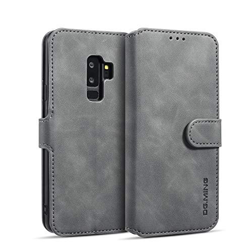 Karomenic PU Leder Hülle kompatibel mit Samsung Galaxy S9 Plus Handyhülle Brieftasche Bookstyle Schutzhülle mit Kartenfach Standfunktion Magnetverschluss Klapphülle Ledertasche Wallet Flip Case,Grau