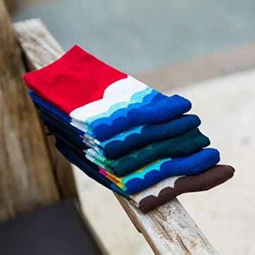 WYLLA Socken Baumwolle, 5 Paar Casual Mens Cotton Striped Socken Harajuku Farbverlauf Business Dress Socks Lange Socken (Dress Mens Socken Lang)