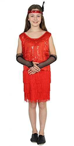 Foxxeo 40306 | 20er Jahre Mädchen Kleid Charleston Kostüm Mafia 20s Flapper rot, Größe:122/128