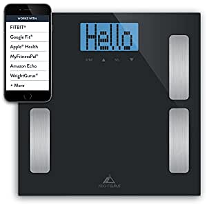 Weight Gurus Smartphone Connected Digital Body Fat Scale with Large Backlit LCD and Weightless Technology (black)