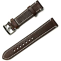 Silvercell Men's Genuine Leather Watch Strap Band with Stainless Steel Watch Buckle Dark Brown 20mm